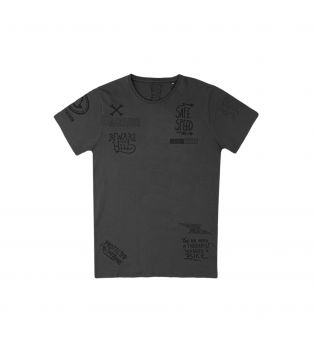 T-Shirt Graffiti Grigio Scuro